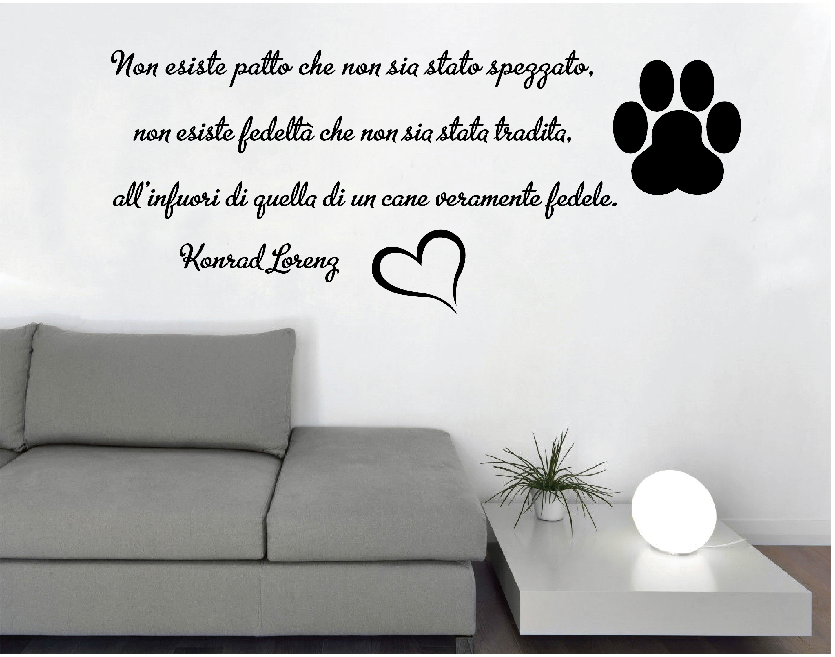 wall stickers adesivi murali frase cane fedele parete muro dog lorentz casa ebay. Black Bedroom Furniture Sets. Home Design Ideas