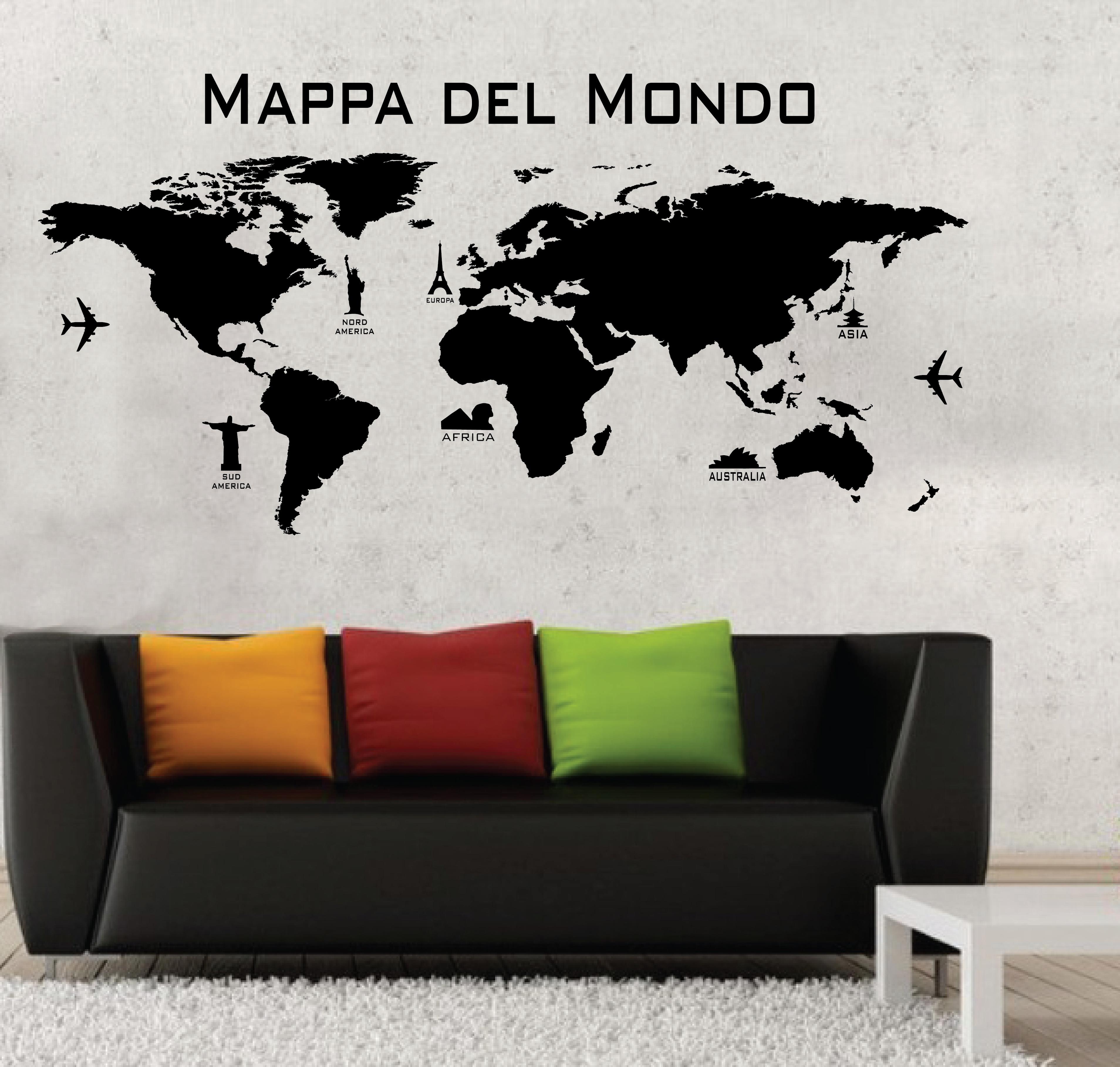 Wall stickers adesivi murali mappa del mondo cartina world for Carta parete adesiva