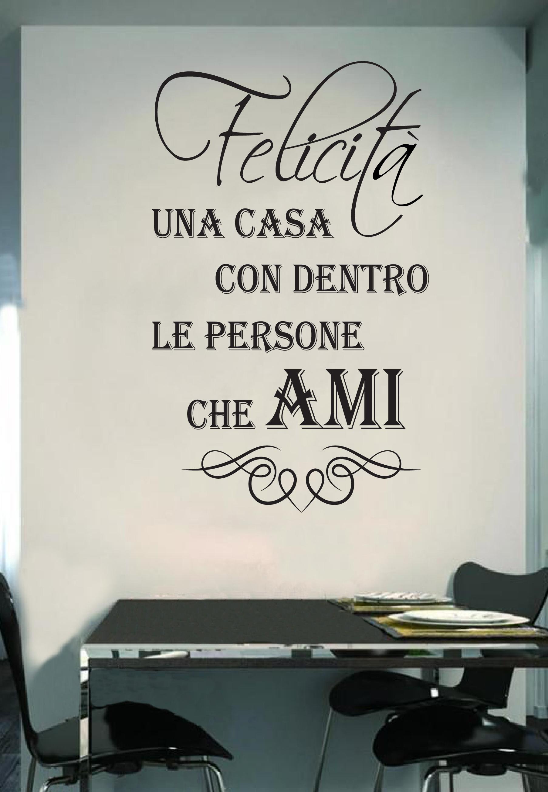Frasi Felicita Amore.Wall Stickers Murali Felicita Casa Famiglia Love Amore Muro Adesivo Frase Ebay