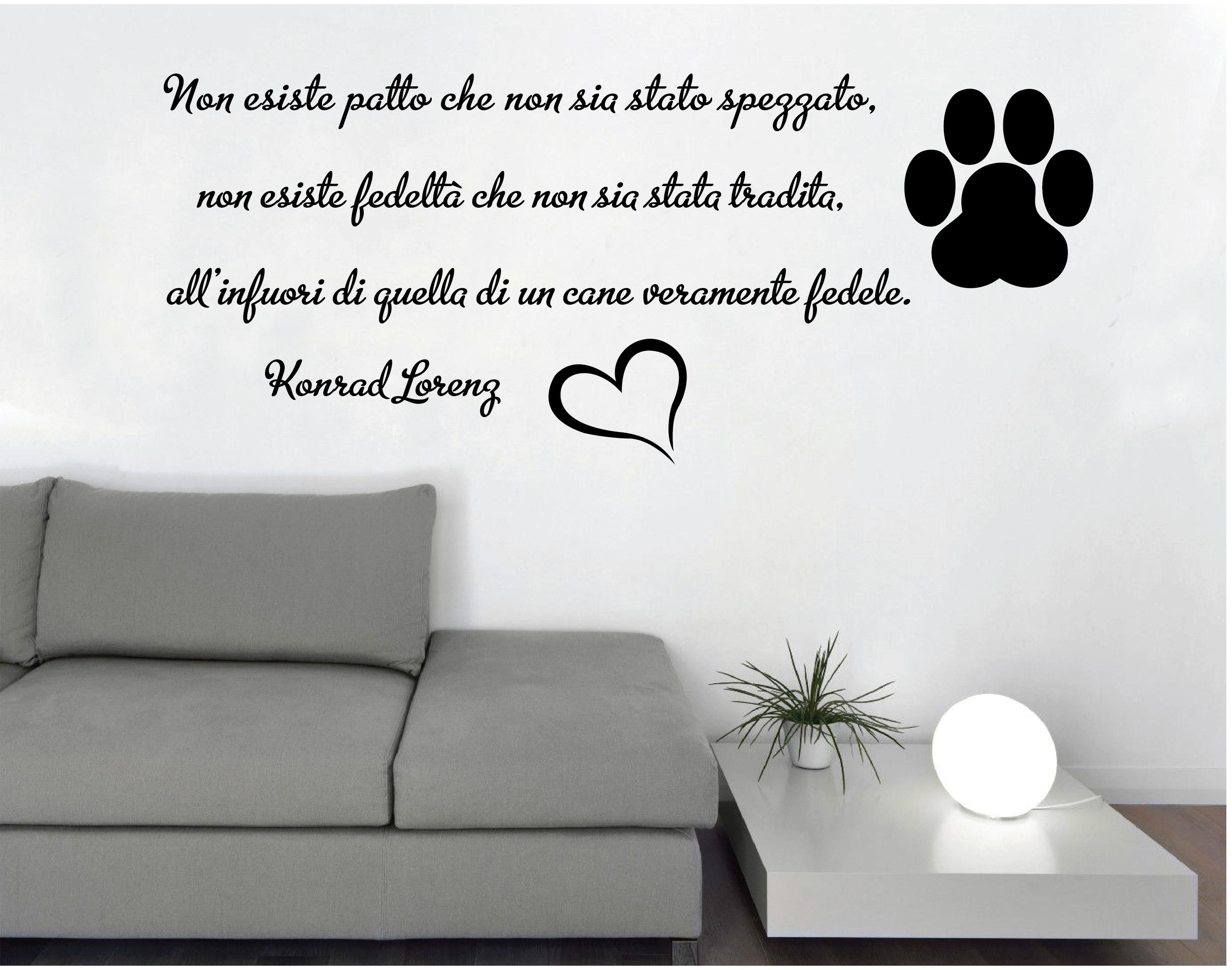 WALL STICKERS ADESIVI MURALI Frase Cane Fedele Parete Muro ...