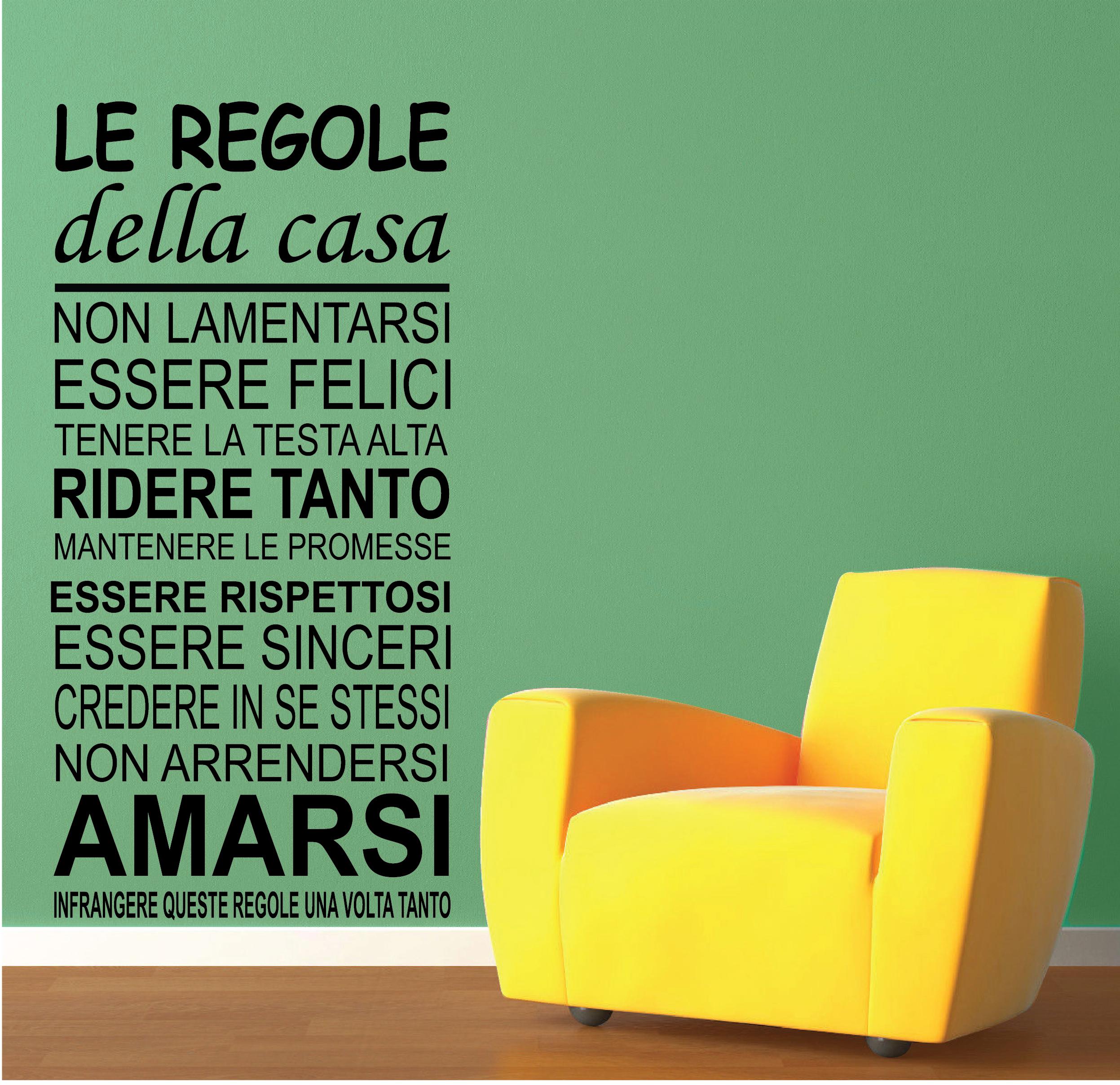 Favori WALL STICKERS ADESIVI MURALI Frase Le Regole della casa parete  DH67